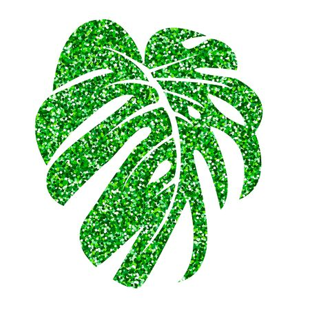 Vector illustration.  Glitter texture green tropical leaf monstera isolated on white background. Imagens - 132063081