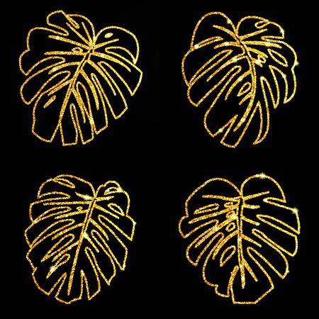 Set glitter texture gold tropical line leaves monstera on black background. Vector illustration. Illustration