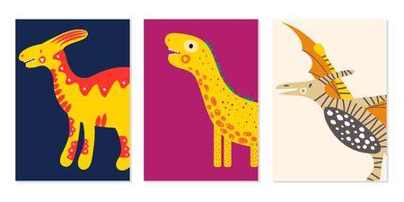 Cute dinosaurs. Vector illustration. Set nursery card. For kids prints, postcards, wall art.