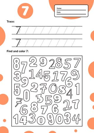 Educational worksheet for preschool and school kids. Number game for children. Trace, fing and color seven. Vector illutration.