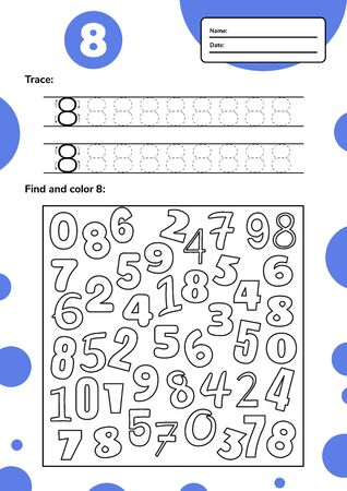 Educational worksheet for preschool and school kids. Number game for children. Trace, fing and color eight. Vector illutration