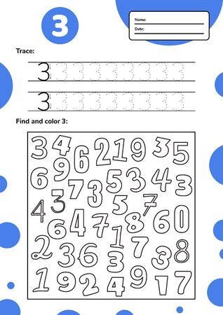 Educational worksheet for preschool and school kids. Number game for children. Trace, find and color three. Vector illustration.