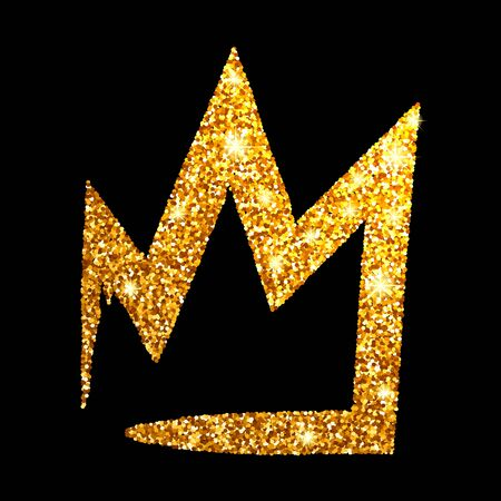 Gold glitter hand drawn crown. Sign king, queen, princess. Illustration