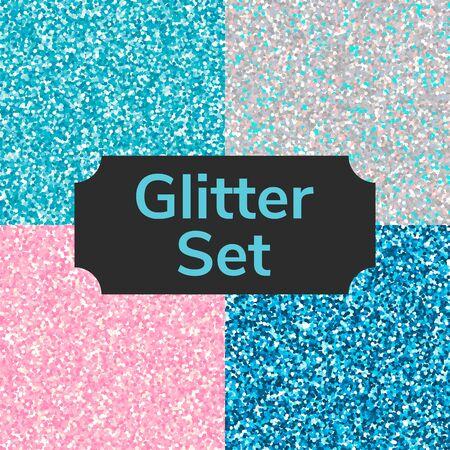 Set square color glitter texture pattern. Silver, pink, blue. Illustration