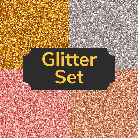 Set square color glitter texture pattern. Gold, silver, pink, bronze. Imagens - 132062554