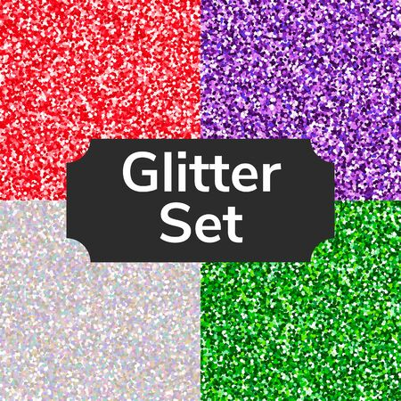 Set square color glitter texture pattern. Silver, red, green, purple. Imagens - 132063496