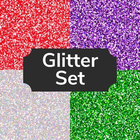 Set square color glitter texture pattern. Silver, red, green, purple.