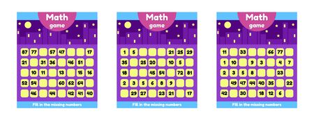 Set math game for preschool and school age children. Fill the missing numbers. Find a sequence.