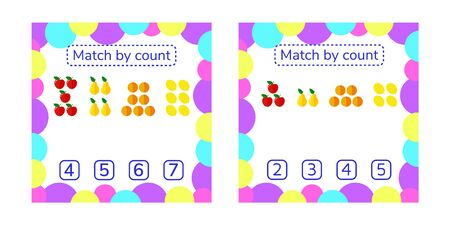 vector set illustration. counting game for preschool children. count items in the picture and choose the right answer. Kids worksheets. Apples, pears, oranges, lemons. Imagens - 131465384