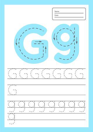 Hoja de trabajo de seguimiento de letras a4 para niños en edad preescolar y escolar. Ilustración vectorial. Ilustración de vector