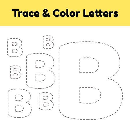 Trace line letter for kindergarten and preshool kids. Write and color. Vector Illustration.