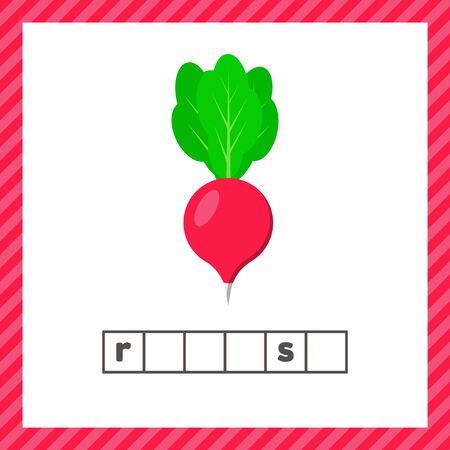 Vegetable. radish on white background. Educational logic worksheet for preschool and school age. Guess the word.