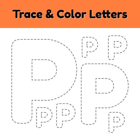 Trace line letter for kindergarten and preschool kids. Write and color p.