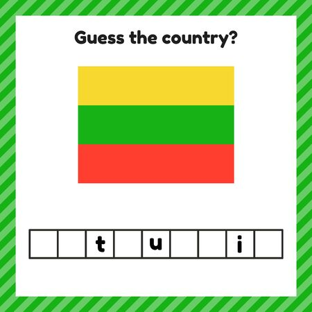 Worksheet on geography for preschool and school kids. Crossword. Lithuania flag. Guess the country.