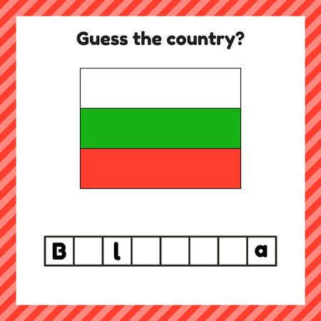 Worksheet on geography for preschool and school kids. Crossword. Bulgaria flag. Guess the country.