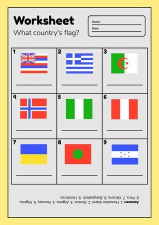 Worksheet on geography for preschool and school kids. What country flag. With answers.