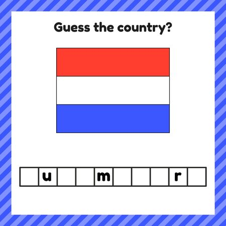Worksheet on geography for preschool and school kids. Crossword. Luxembourg flag. Guess the country.