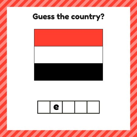 Worksheet on geography for preschool and school kids. Crossword. Yemen flag. Guess the country. Stock Illustratie