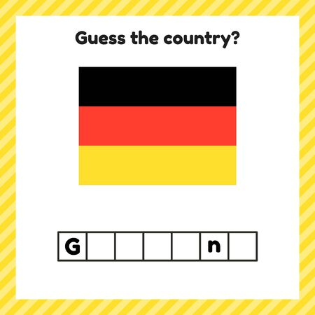 Worksheet on geography for preschool and school kids. Crossword. Germany flag. Guess the country.