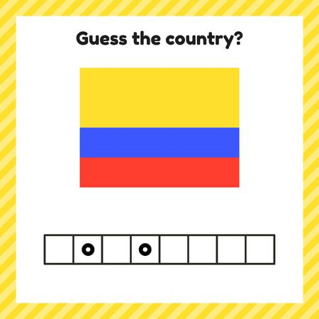Worksheet on geography for preschool and school kids. Crossword. Colombia flag. Guess the country.