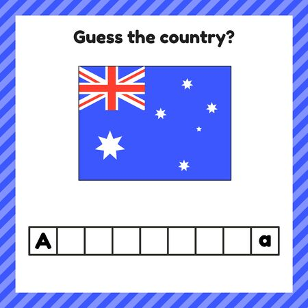 Worksheet on geography for preschool and school kids. Crossword. Australia flag. Guess the country.