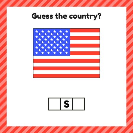 Worksheet on geography for preschool and school kids. Crossword. USA flag. Guess the country.
