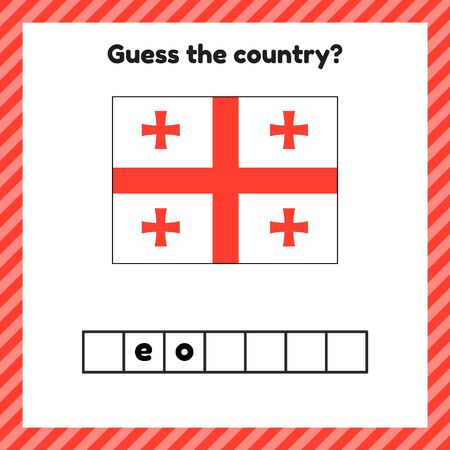 Worksheet on geography for preschool and school kids. Crossword. Georgia flag. Guess the country.