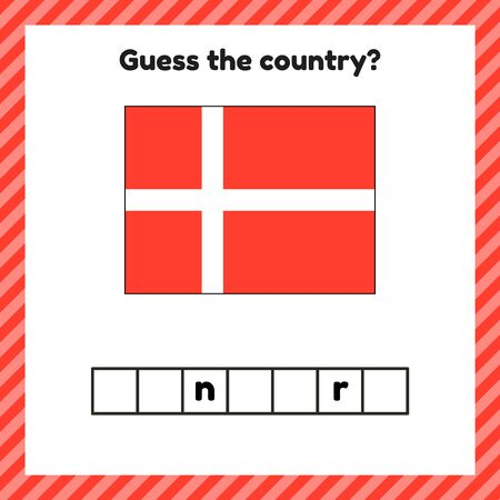 Worksheet on geography for preschool and school kids. Crossword. Denmark flag. Guess the country.