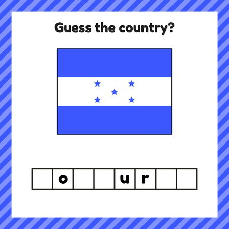 Worksheet on geography for preschool and school kids. Crossword. Honduras flag. Guess the country. Stock Illustratie