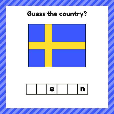 Worksheet on geography for preschool and school kids. Crossword. Sweden flag. Guess the country.