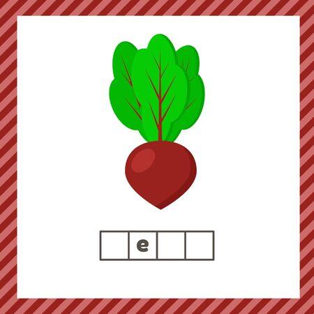 Vegetable. Beet. Educational logic worksheet for preschool and school age. Guess the word.