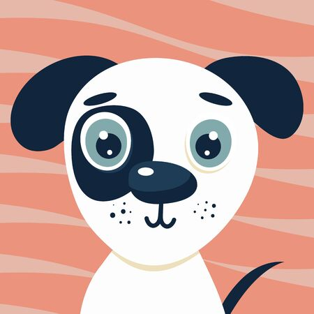 Cute illustration head puppy for kids. Nursery funny dog. Vector character for print on pink background.
