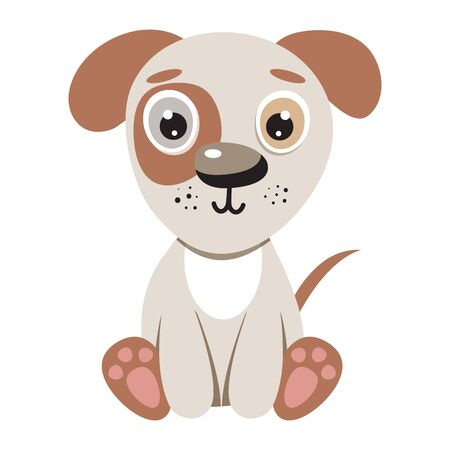 Cute illustration puppy for kids. Nursery funny dog. Vector character for print.