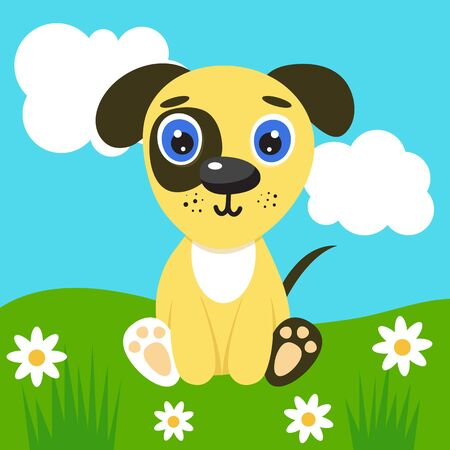 Cute illustration puppy for kids. Nursery funny dog. Vector character on nature background. Blue sky with white clouds and green grass, chamomiles.