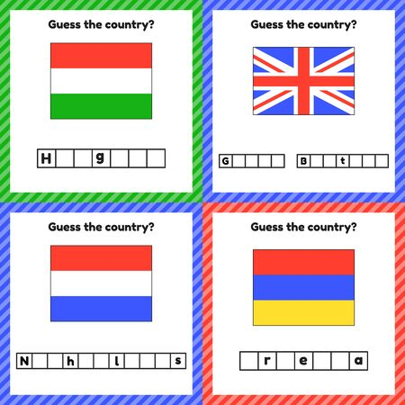 Worksheet on geography for preschool and school kids. Crossword. Set Hungary, Netherlands, Armenia, Great Britain flags. Cuess the country.