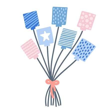 Cute bunch hand drawn square balloons with bow. Pink and blue with star, lines and dots element. Vector illustration.