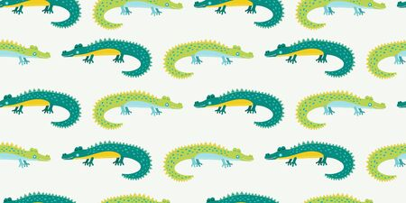 Cute cartoon alligator for kids. Seamless pattern with green nahd drawn crocodiles. Vector illustration.