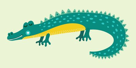 Cute cartoon alligator for kids. Print with green hand drawn crocodile. Vector illustration.