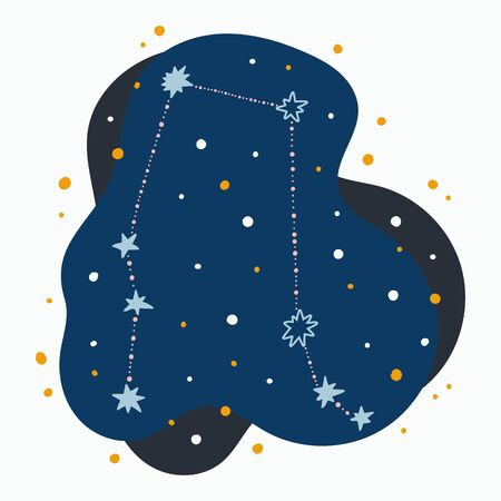 Cute constellation zodiac sign gemini. Doodles, hand drawn stars and dots in abstract space.
