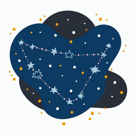 Cute constellation zodiac sign capricorn. Doodles, hand drawn stars and dots in abstract space.