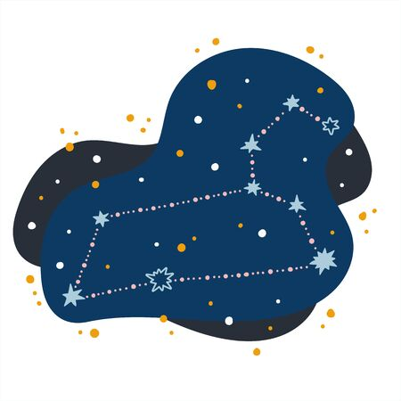 Cute constellation zodiac sign leo. Doodles, hand drawn stars and dots in abstract space.