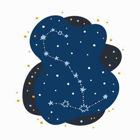Cute constellation zodiac sign scorpio. Doodles, hand drawn stars and dots in abstract space. Vector illustration. 矢量图像