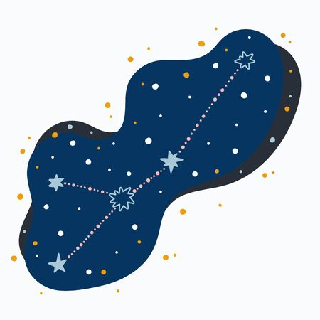 Cute constellation zodiac sign cancer. Doodles, hand drawn stars and dots in abstract space. Vector illustration. 矢量图像