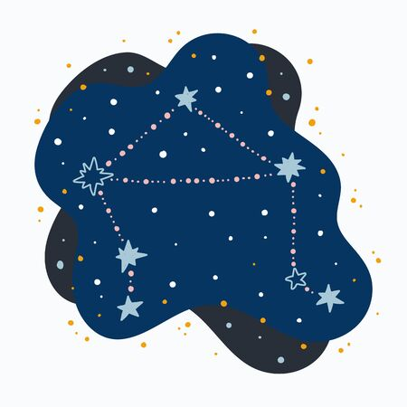 Cute constellation zodiac sign libra. Doodles, hand drawn stars and dots in abstract space. Vector illustration.