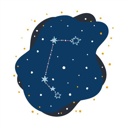 Cute constellation zodiac sign aries. Doodles, hand drawn stars and dots in abstract space. Vector illustration.
