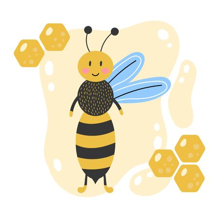 Cute cartoon bee. Hand drawn. Yellow background with honeycomb. Kids vector illustration. 向量圖像