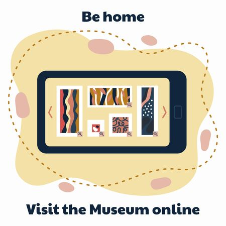 Consept visit the museum online. Be home. Stay home. Gallery in mobile phone. Abstract art. Vector illustration.