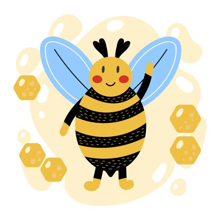 Cute cartoon bumblebee. Hand drawn style. Yellow background with honeycomb. Kids vector illustration. 向量圖像