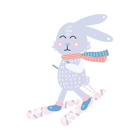 Cute hare on skis. Funny rabbit. Vector illustration for kids. Hand drawn.
