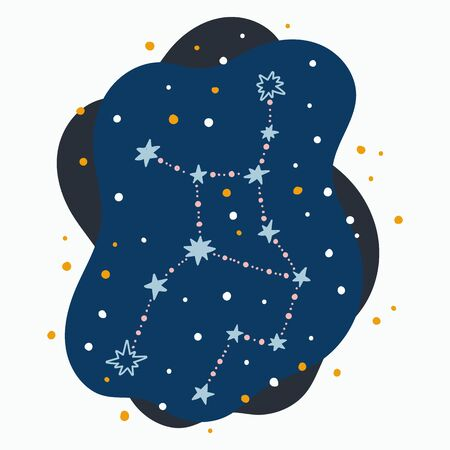 Cute constellation zodiac sign virgo. Doodles, hand drawn stars and dots in abstract space. Vector illustration. 矢量图像